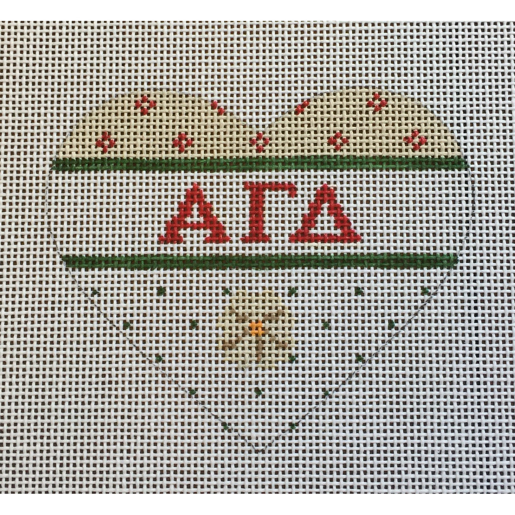 Alpha Gamma Delta Small Heart Canvas-Needlepoint Canvas-Painted Pony-KC Needlepoint