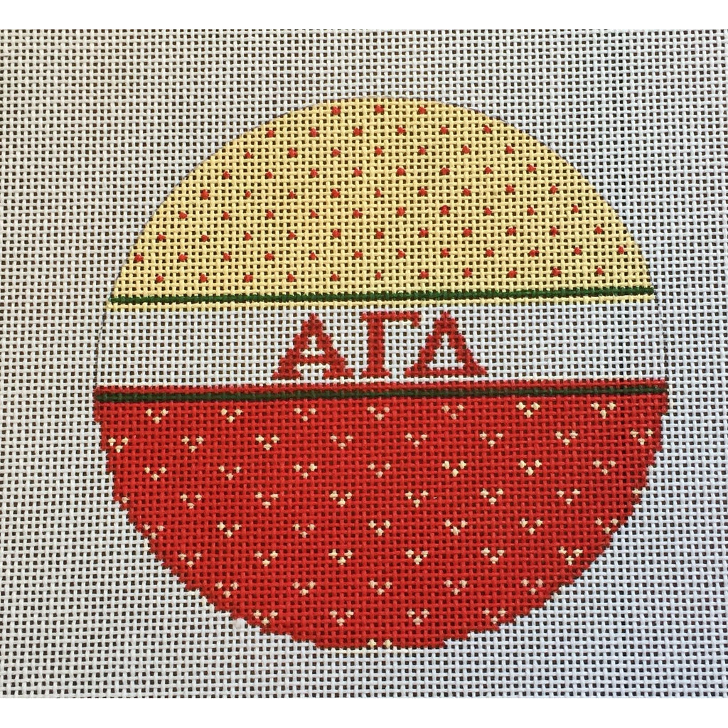 Alpha Gamma Delta Round Canvas - needlepoint