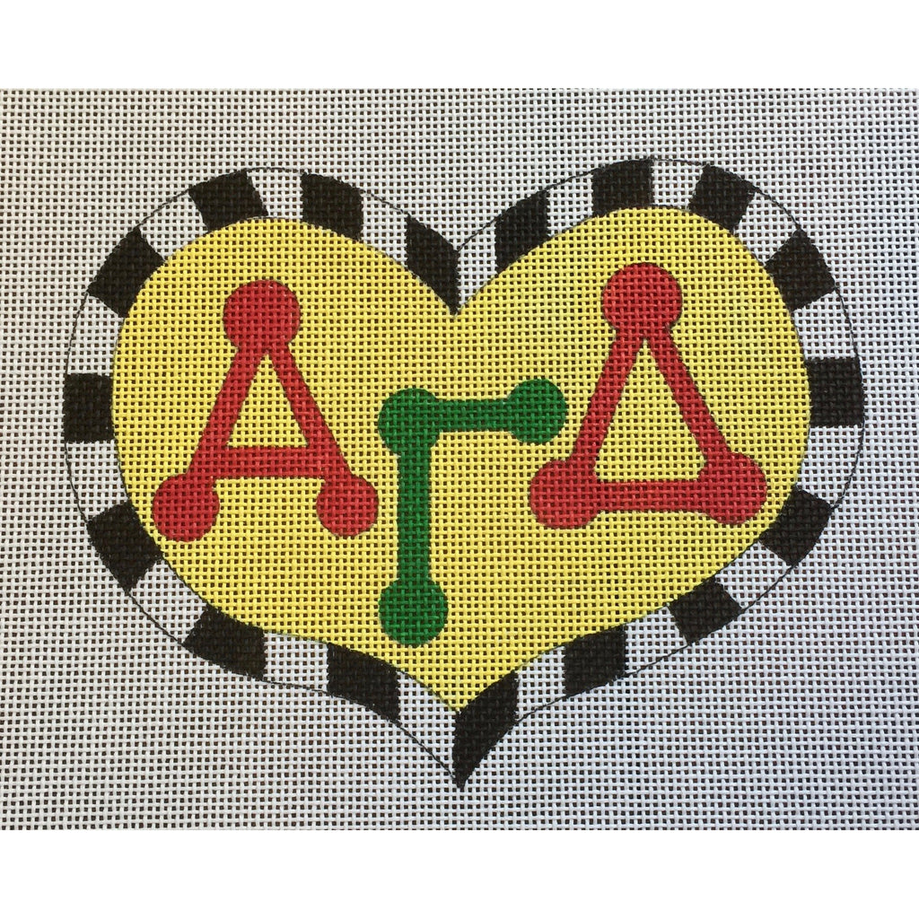 Alpha Gamma Delta Large Heart Canvas-Needlepoint Canvas-Painted Pony-KC Needlepoint