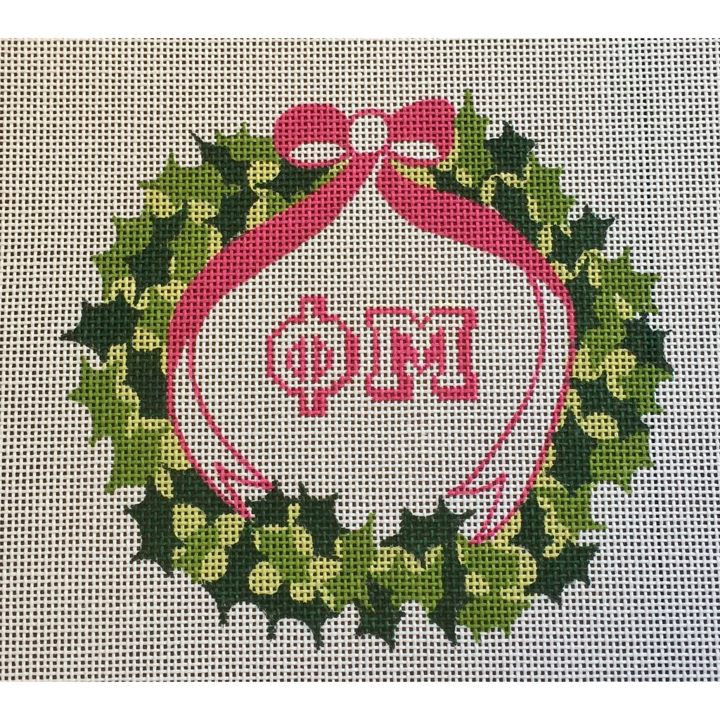 Phi Mu Wreath Canvas-Needlepoint Canvas-Painted Pony-KC Needlepoint
