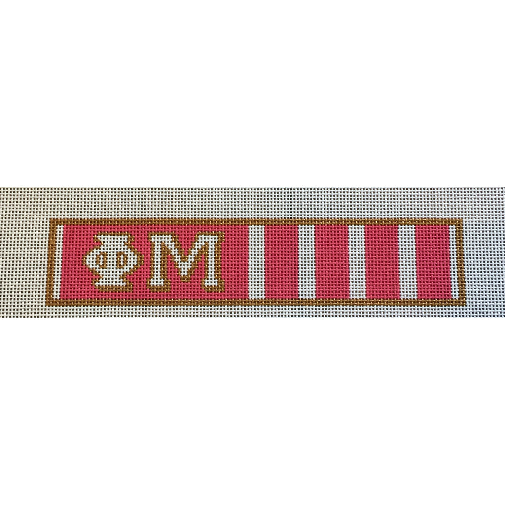 Phi Mu Key Fob Canvas - needlepoint
