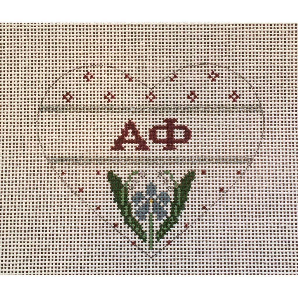 Alpha Phi Small Heart Canvas-Needlepoint Canvas-Painted Pony-KC Needlepoint