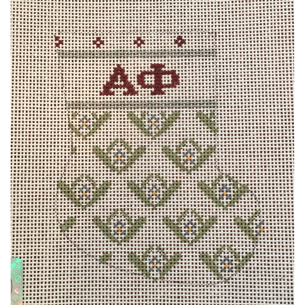 Alpha Phi Mini Sock Canvas-Needlepoint Canvas-Painted Pony-KC Needlepoint