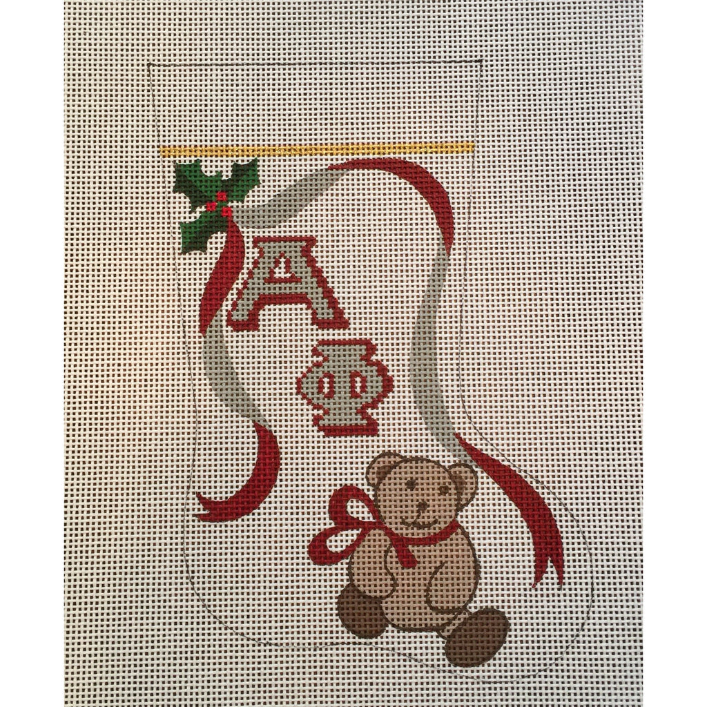 Alpha Phi Bear Mini Sock Canvas-Needlepoint Canvas-Painted Pony-KC Needlepoint