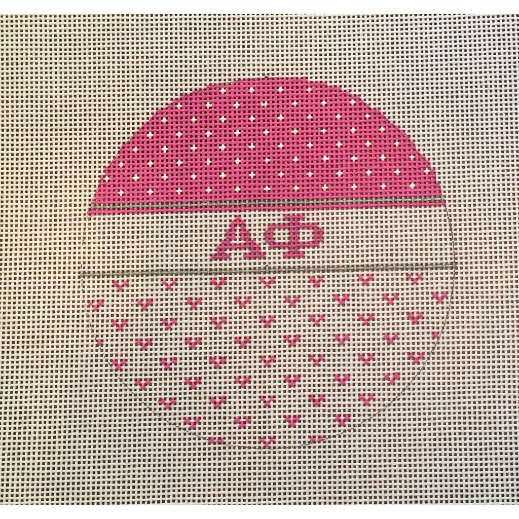 Alpha Phi Round Canvas - KC Needlepoint