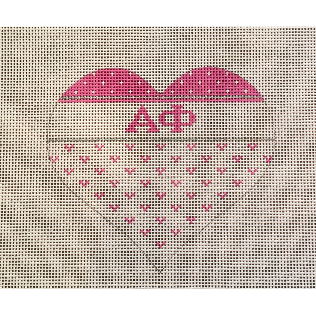 Alpha Phi Heart Canvas-Needlepoint Canvas-Painted Pony-KC Needlepoint