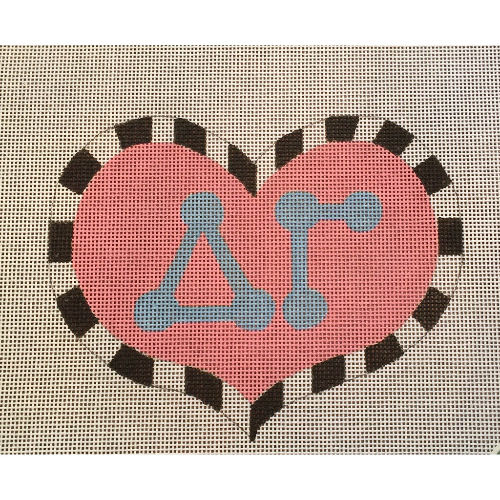Delta Gamma Large Heart Canvas - needlepoint
