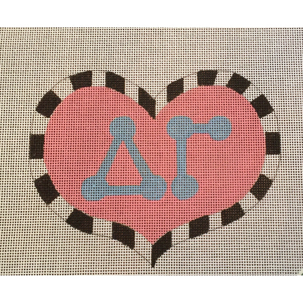 Delta Gamma Large Heart Canvas