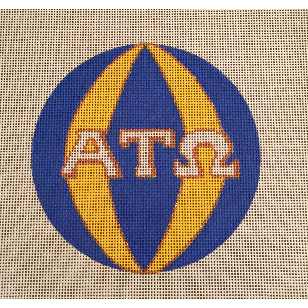 Alpha Tau Omega Round Canvas-Needlepoint Canvas-Painted Pony-KC Needlepoint