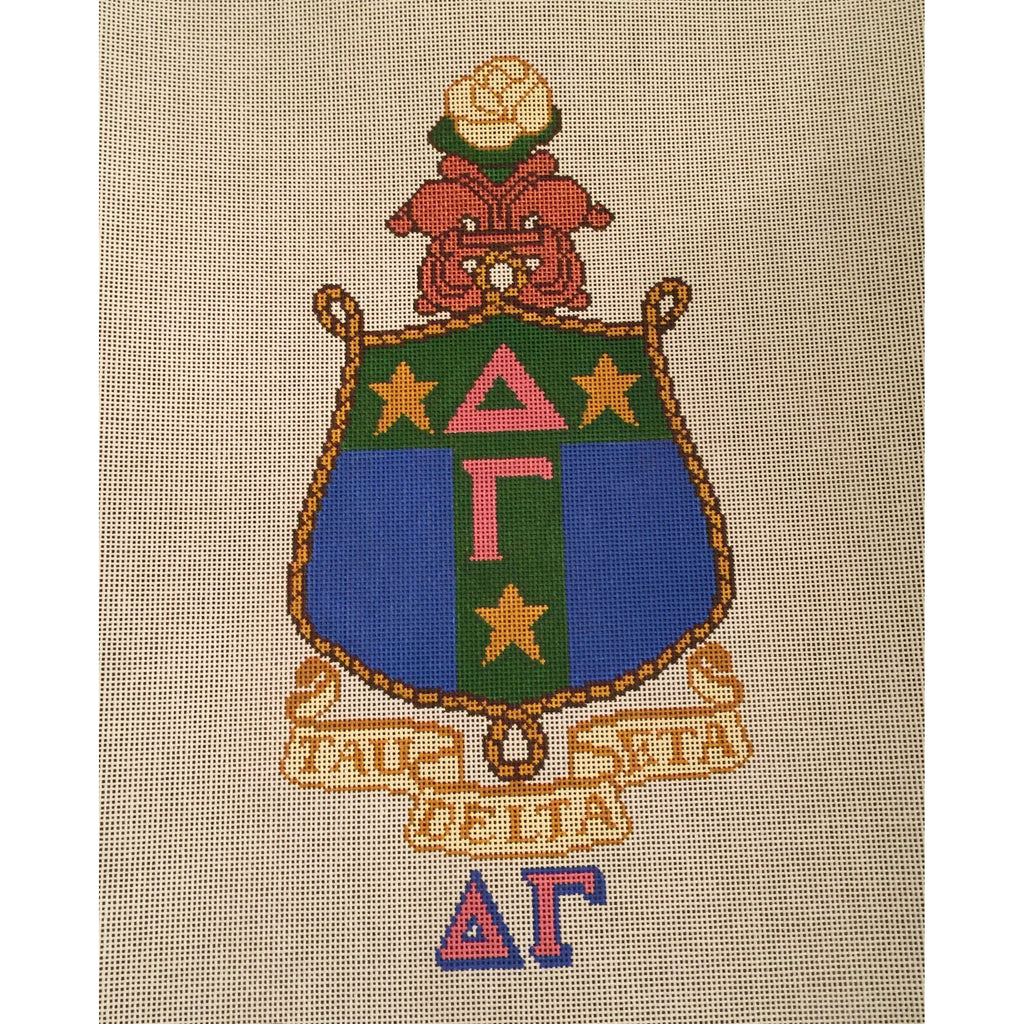 Delta Gamma Crest Canvas-Needlepoint Canvas-Painted Pony-KC Needlepoint