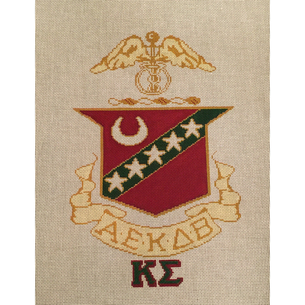 Kappa Sigma Crest Canvas-Needlepoint Canvas-Painted Pony-KC Needlepoint