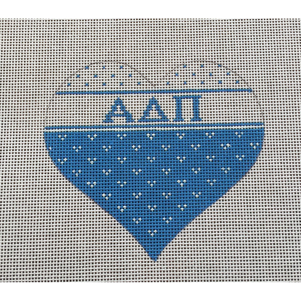 Alpha Delta Pi Heart Canvas-Needlepoint Canvas-Painted Pony-KC Needlepoint