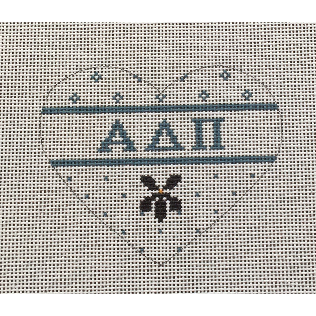 Alpha Delta Pi Small Heart Canvas-Needlepoint Canvas-Painted Pony-KC Needlepoint