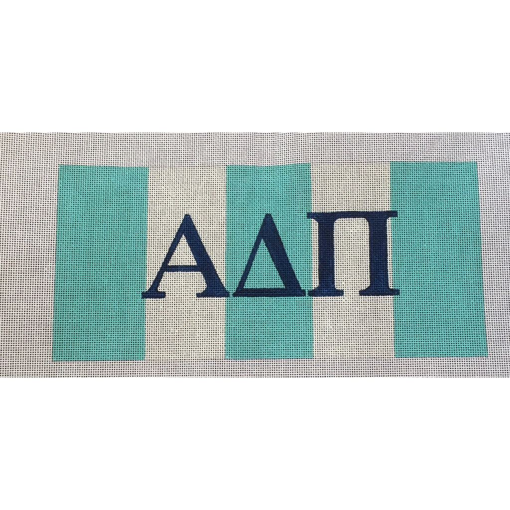 Alpha Delta Pi with Stripes Canvas-Needlepoint Canvas-Painted Pony-KC Needlepoint