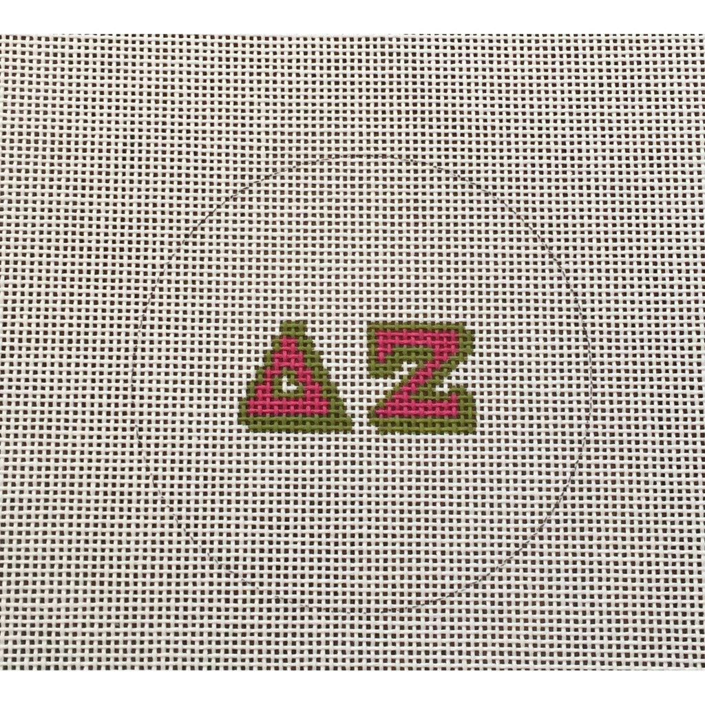 Delta Zeta Round Canvas - needlepoint