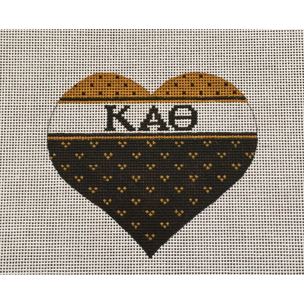 Kappa Alpha Theta Heart Canvas-Needlepoint Canvas-Painted Pony-KC Needlepoint