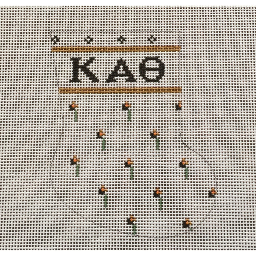 Kappa Alpha Theta Mini Sock Canvas-Needlepoint Canvas-Painted Pony-KC Needlepoint