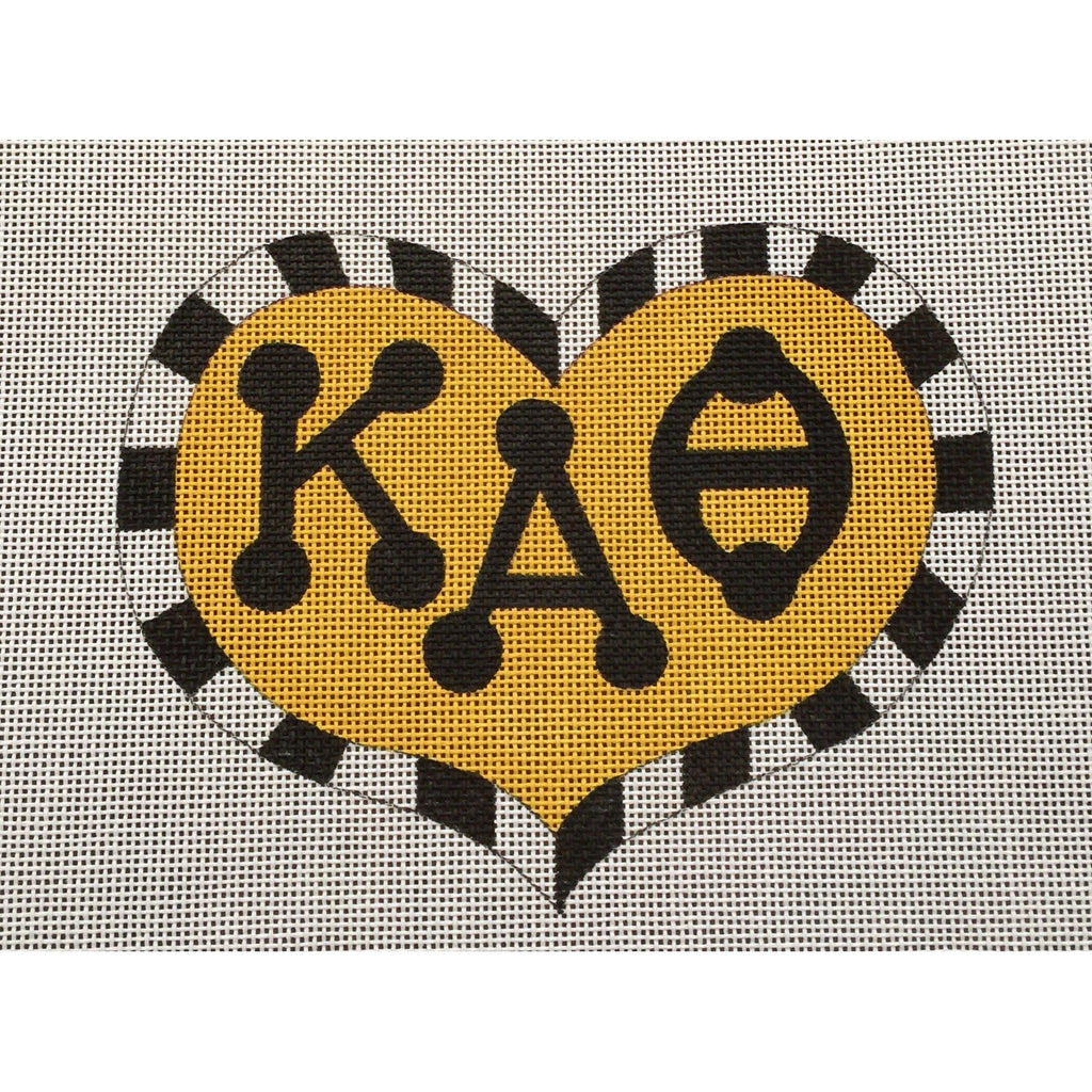Kappa Alpha Theta Large Heart Canvas - needlepoint