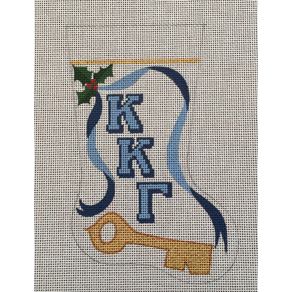 Kappa Kappa Gamma Key Mini Sock Canvas-Painted Pony-KC Needlepoint