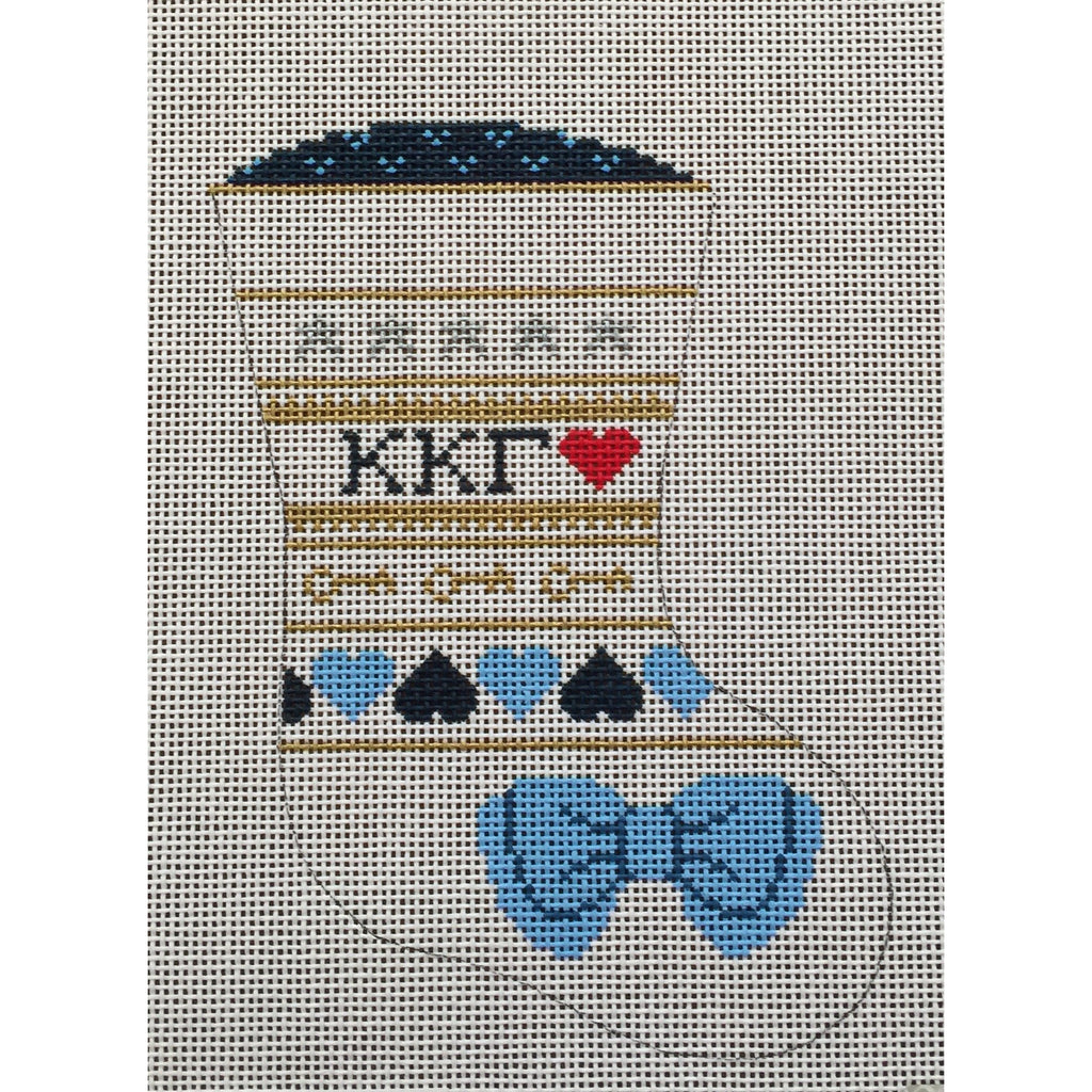 Kappa Kappa Gamma Mini Sock Canvas - needlepoint