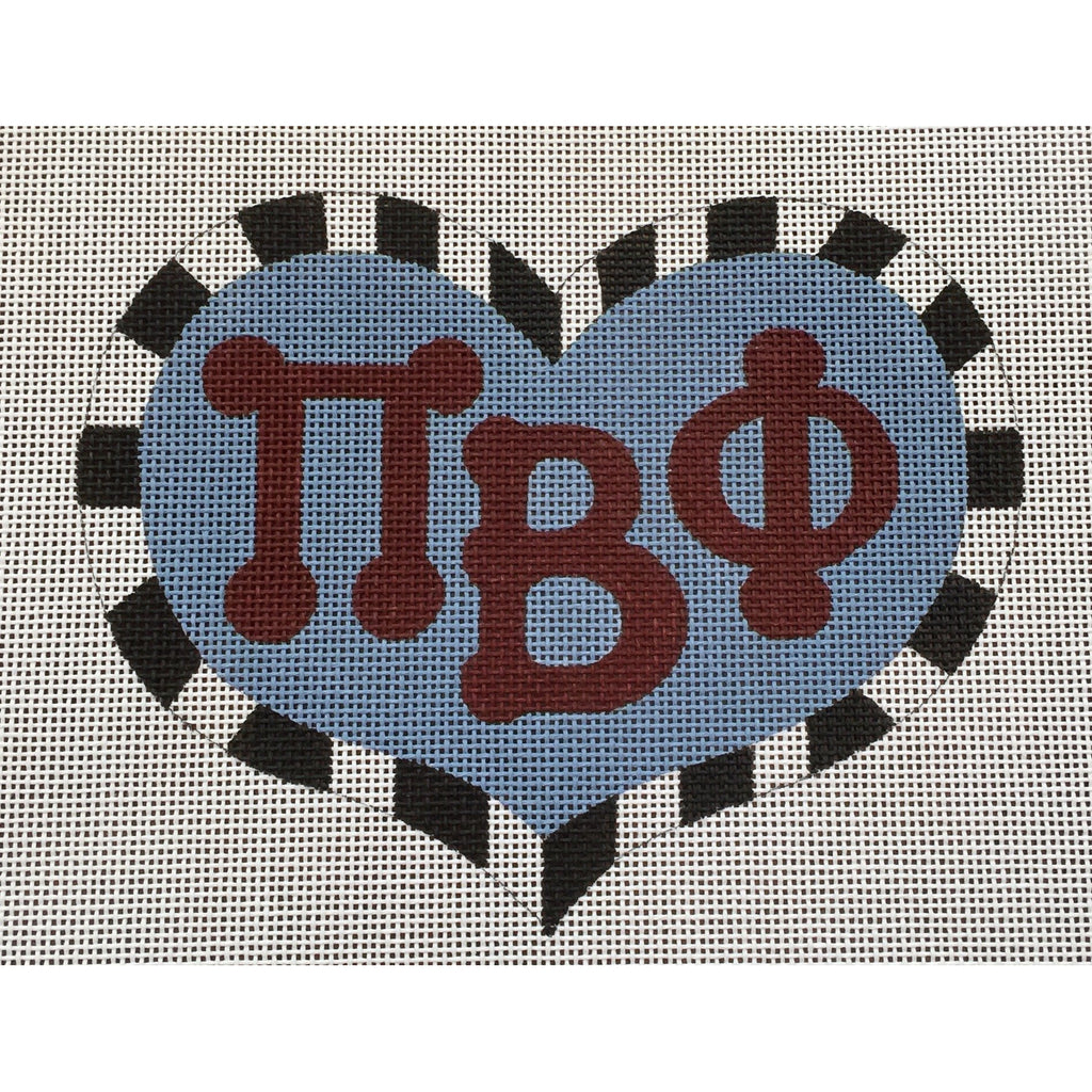 Pi Beta Phi Large Heart Canvas - needlepoint