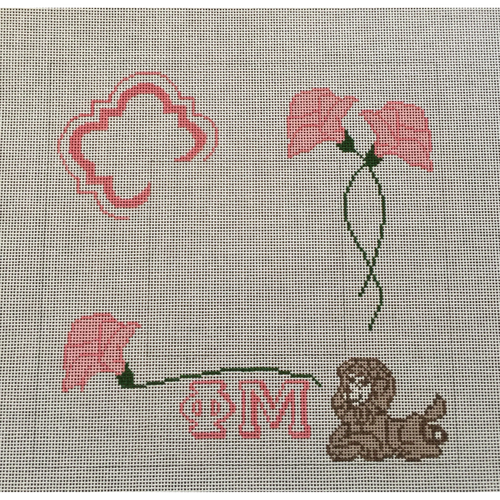 Phi Mu Frame Canvas-Needlepoint Canvas-Painted Pony-KC Needlepoint