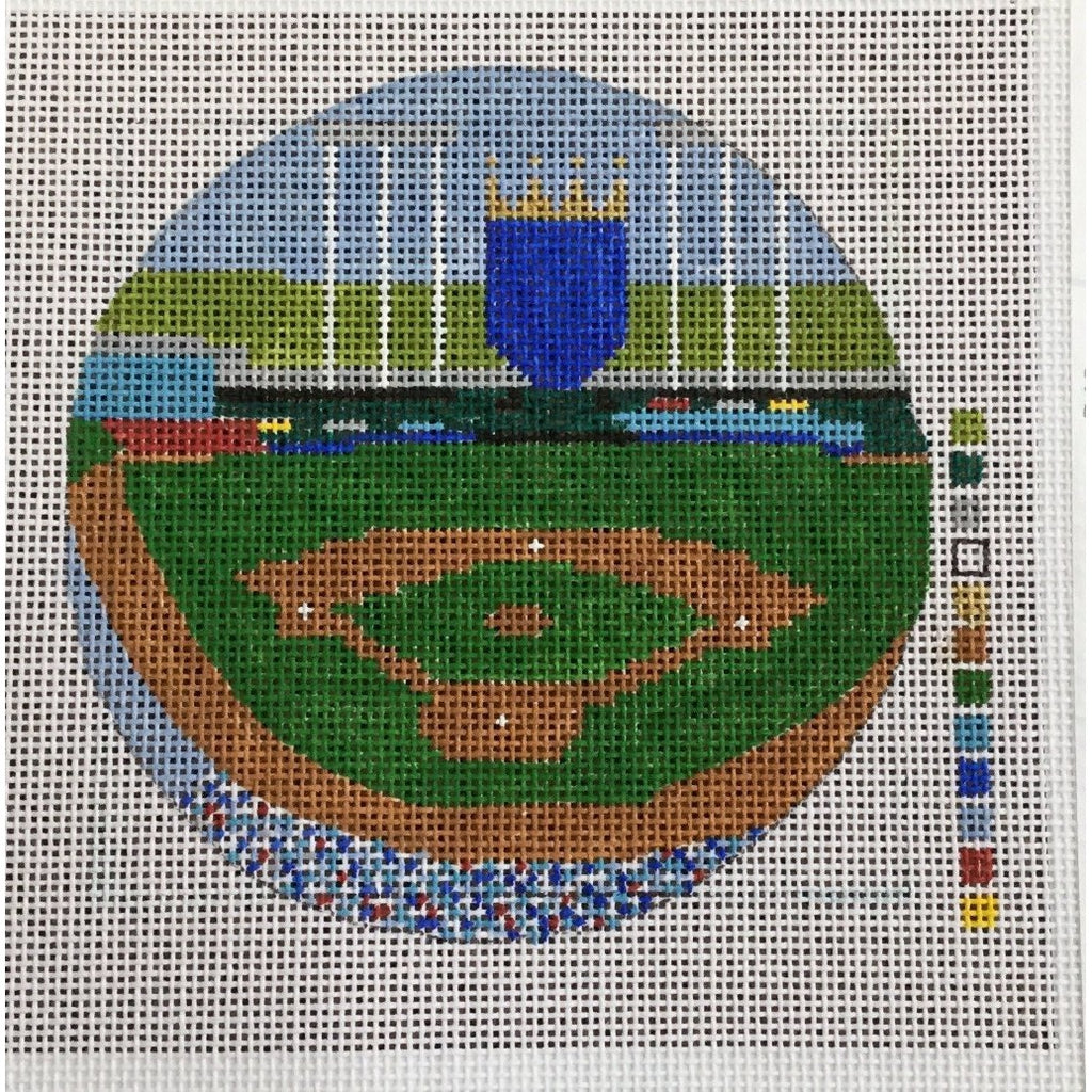 "Kauffman Stadium 4 1/2"" Round Canvas-Needlepoint Canvas-KCN Designers-KC Needlepoint"