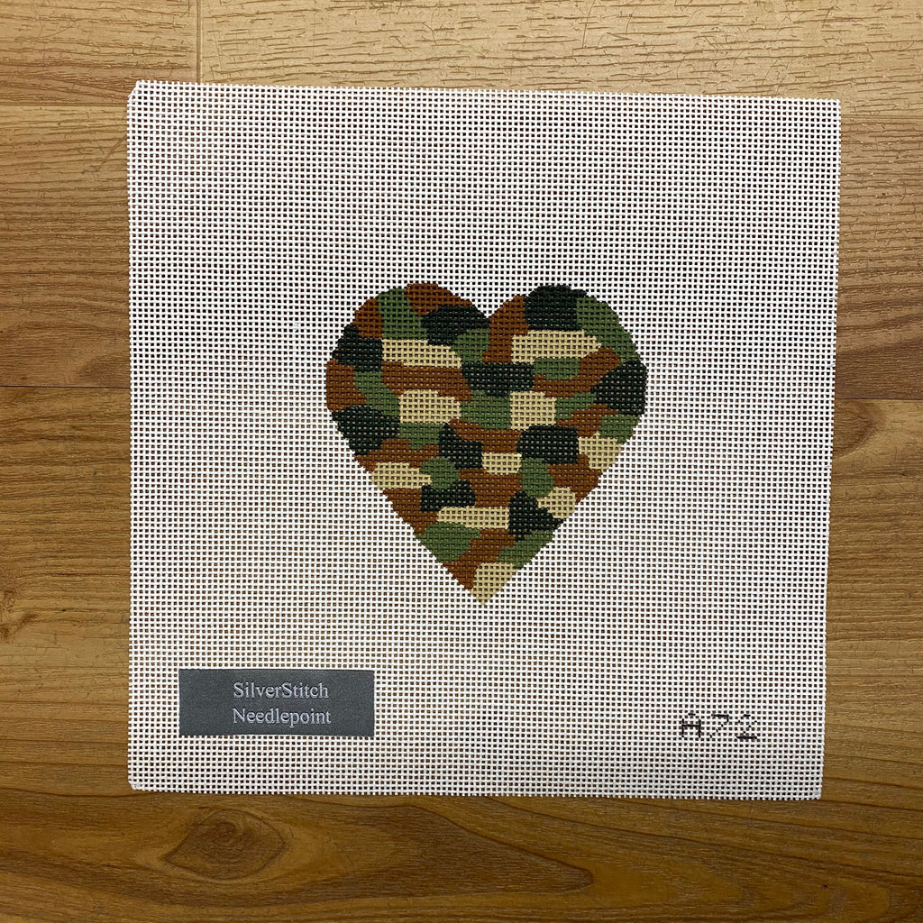 Camo Heart Canvas-Needlepoint Canvas-KC Needlepoint