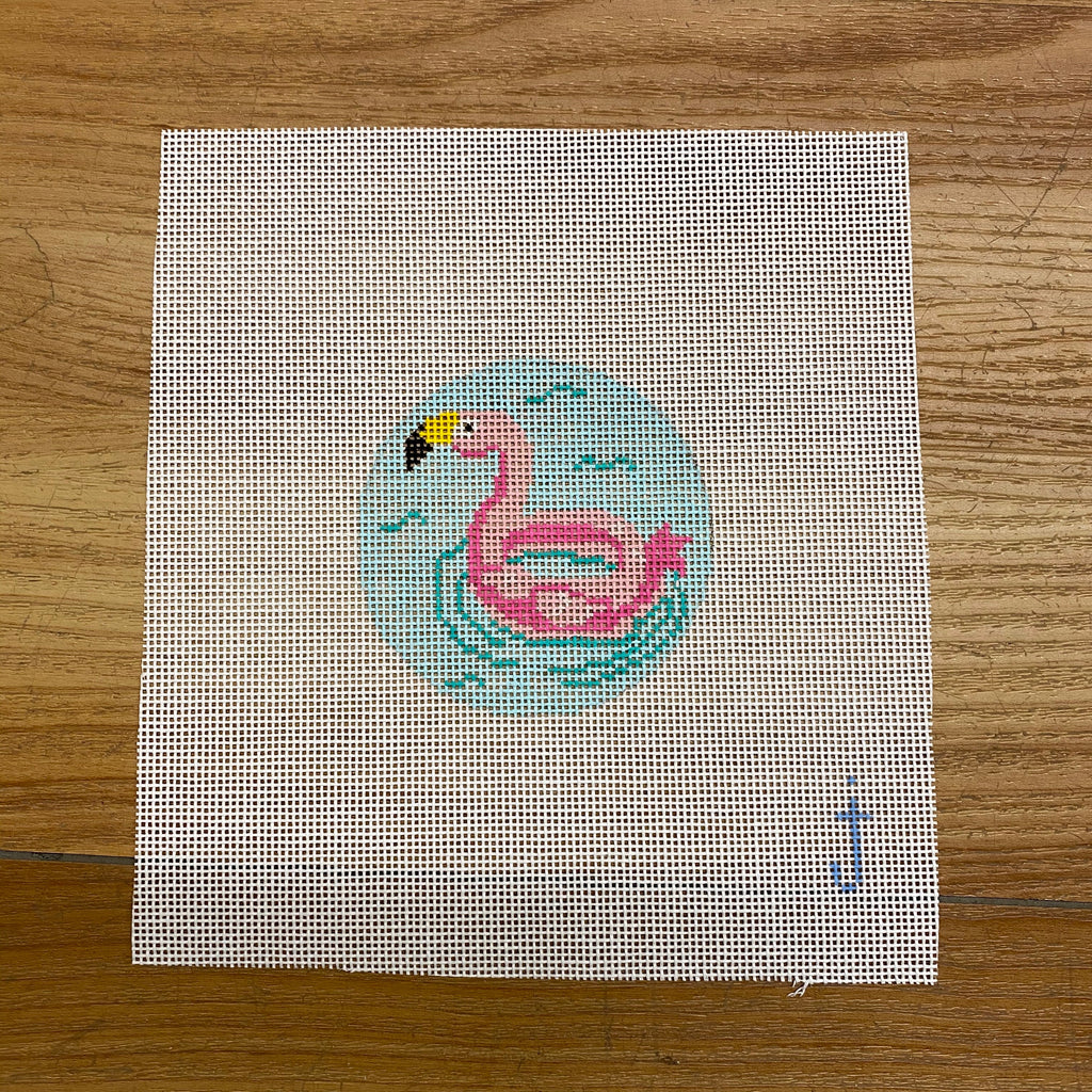 Flamingo Float Canvas - needlepoint