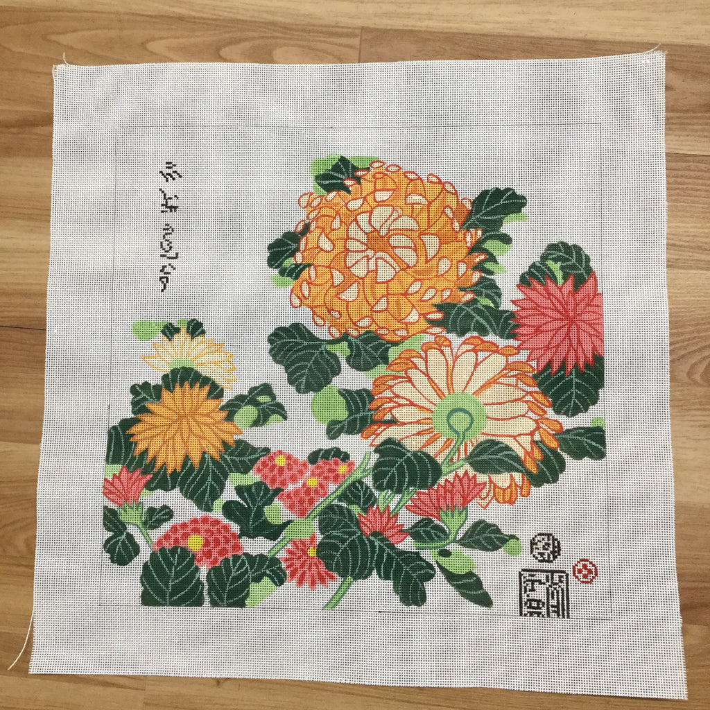 Chrysanthemum Canvas-Needlepoint Canvas-Studio Midwest-KC Needlepoint
