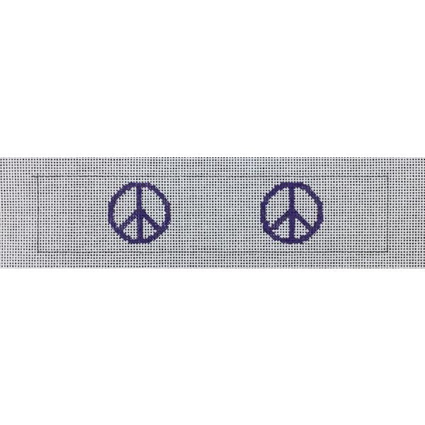 Peace Sign Key Fob Canvas-Needlepoint Canvas-Local Artist-Purple-KC Needlepoint