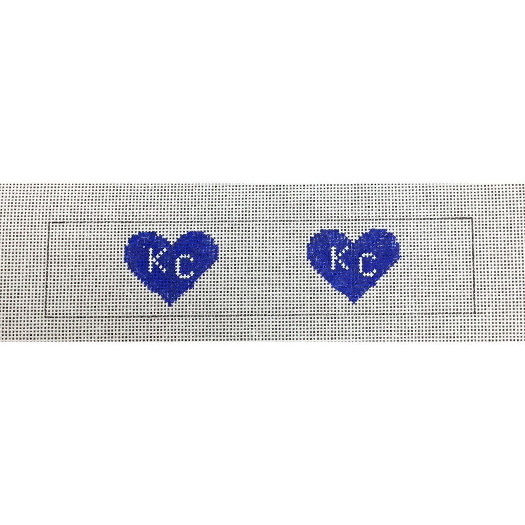 KC Hearts Key Fob Canvas-Needlepoint Canvas-Local Artist-Blue-KC Needlepoint