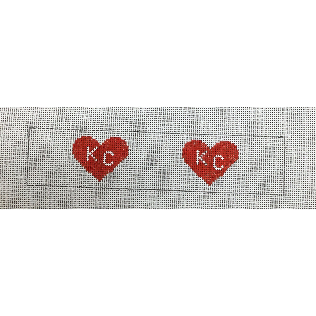 KC Hearts Key Fob Canvas-Needlepoint Canvas-Local Artist-Red-KC Needlepoint