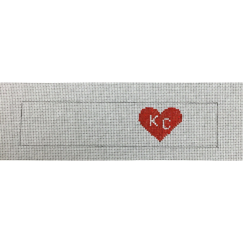 KC Heart Key Fob Canvas - needlepoint
