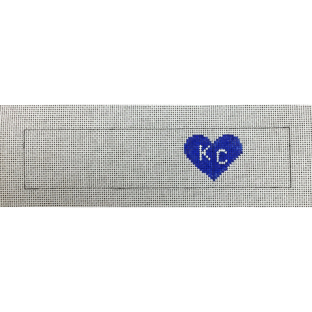 KC Heart Key Fob Canvas-Needlepoint Canvas-Local Artist-Blue-KC Needlepoint