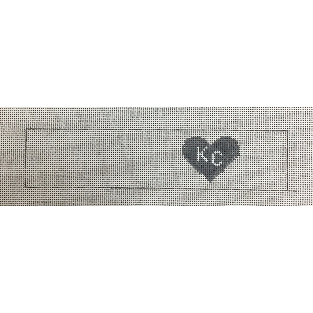 KC Heart Key Fob Canvas-Needlepoint Canvas-Local Artist-Gray-KC Needlepoint