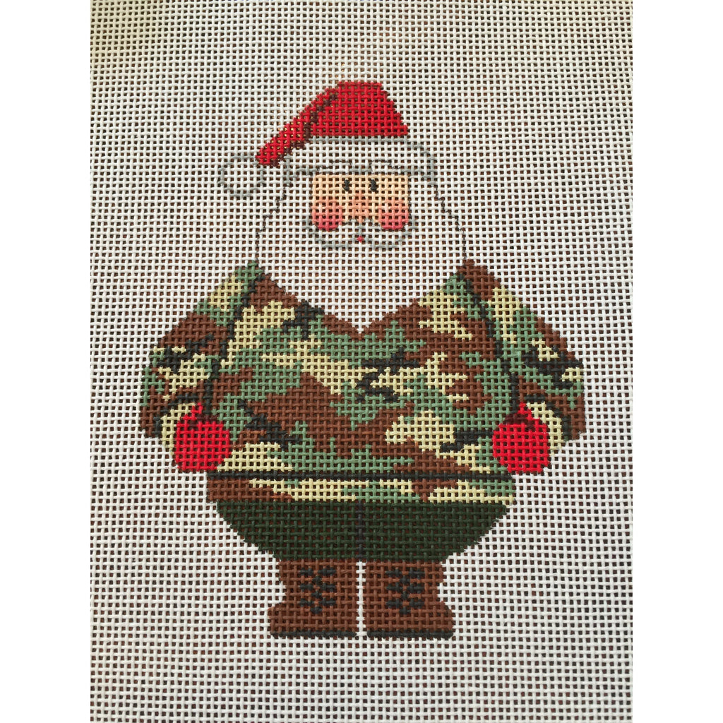 Camo Santa Canvas - needlepoint
