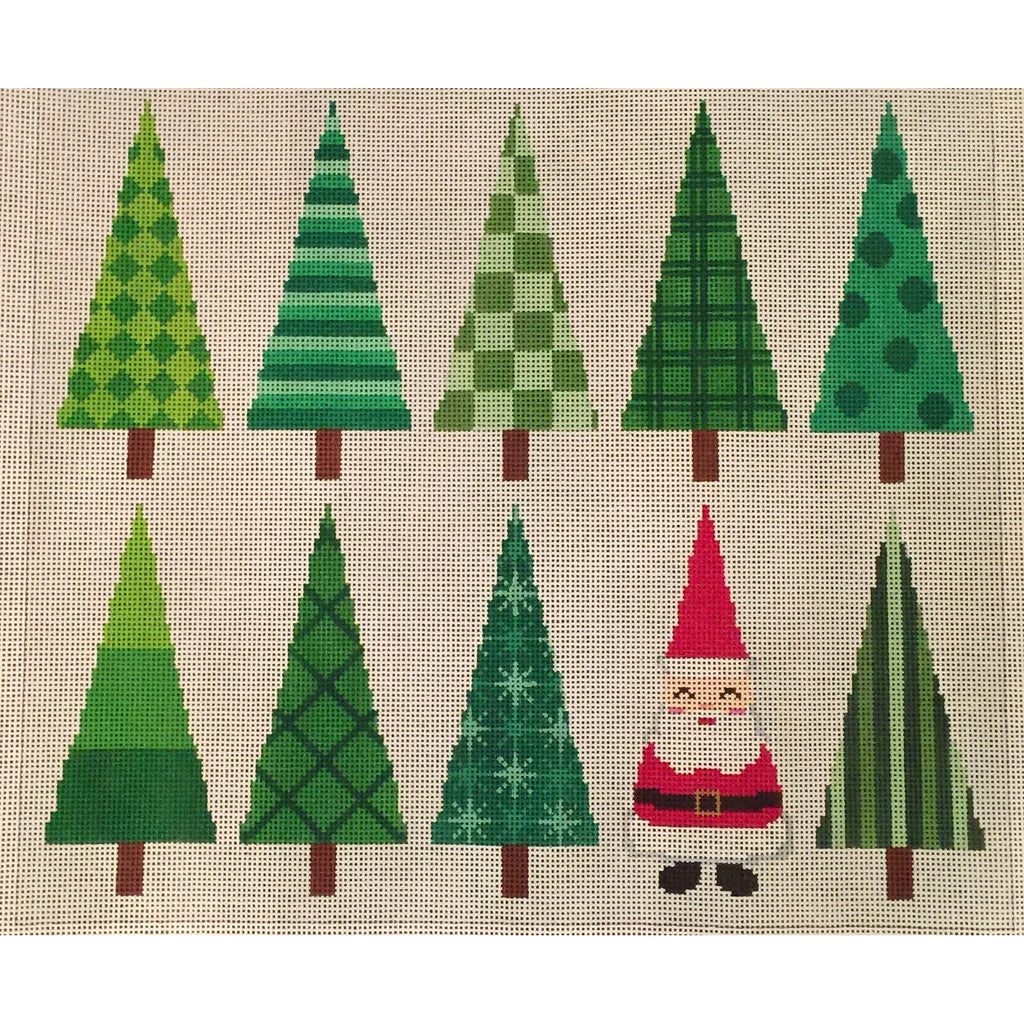 Santa and Trees Needlepoint Canvas-Needlepoint Canvas-A Stitch in Time-KC Needlepoint
