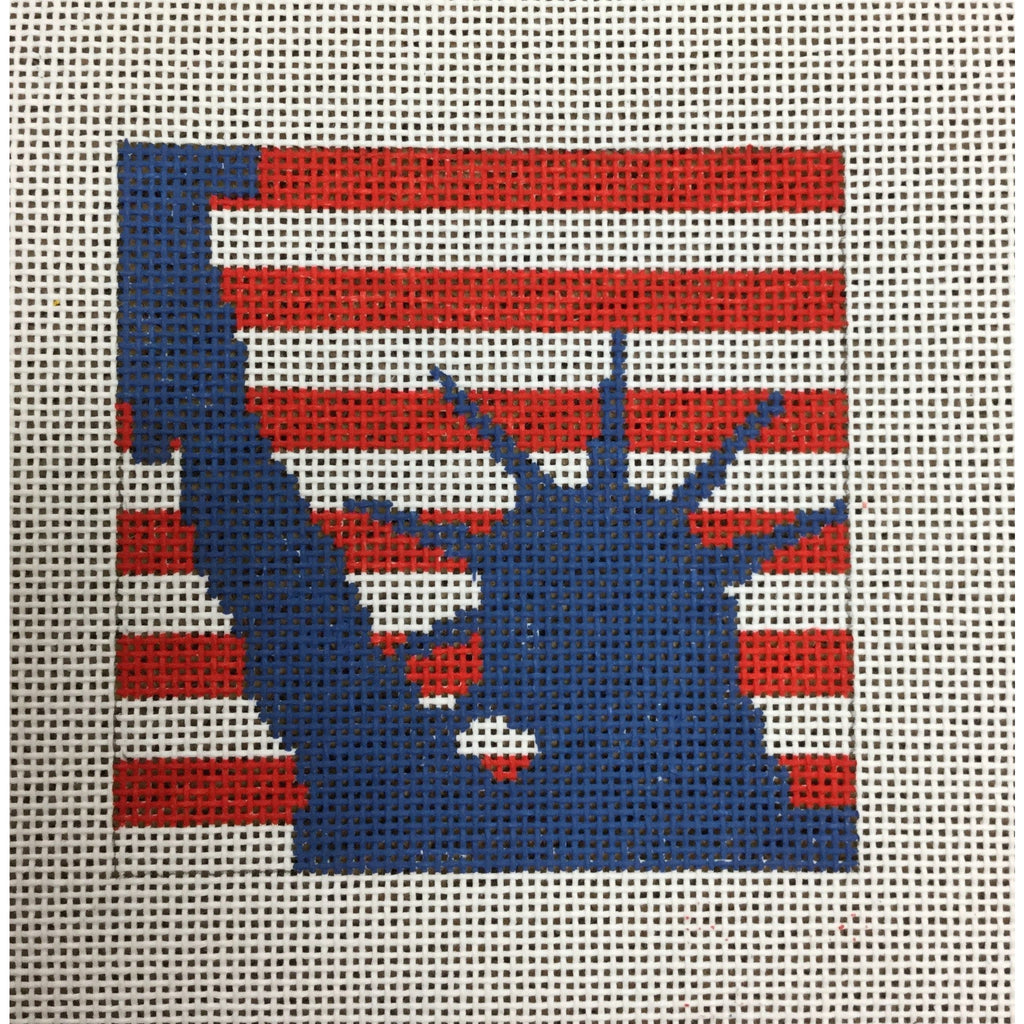"Statue of Liberty 4 1/2"" Square Canvas - needlepoint"