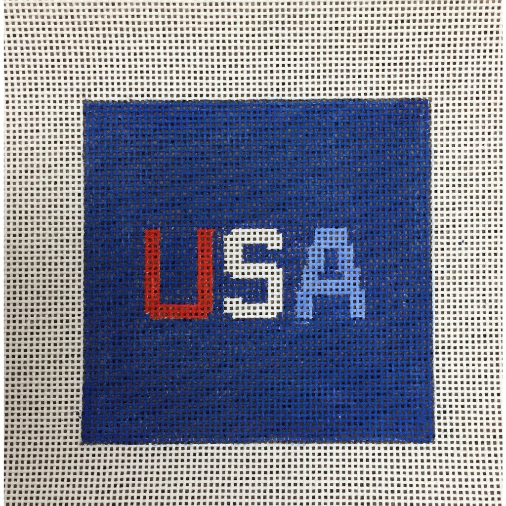 "USA 4 1/2"" Square Canvas-Needlepoint Canvas-Local Artist-13 mesh-KC Needlepoint"