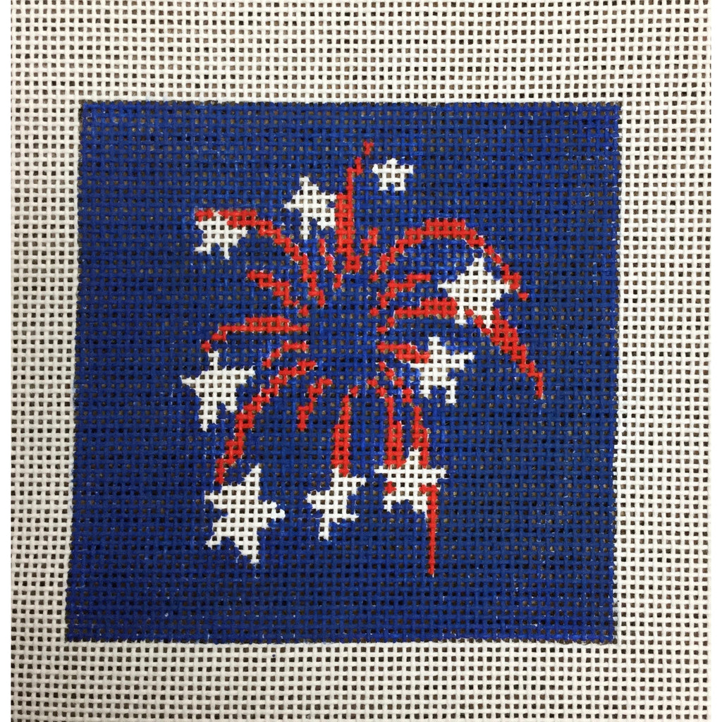 "Fireworks 4 1/2"" Square Canvas - needlepoint"