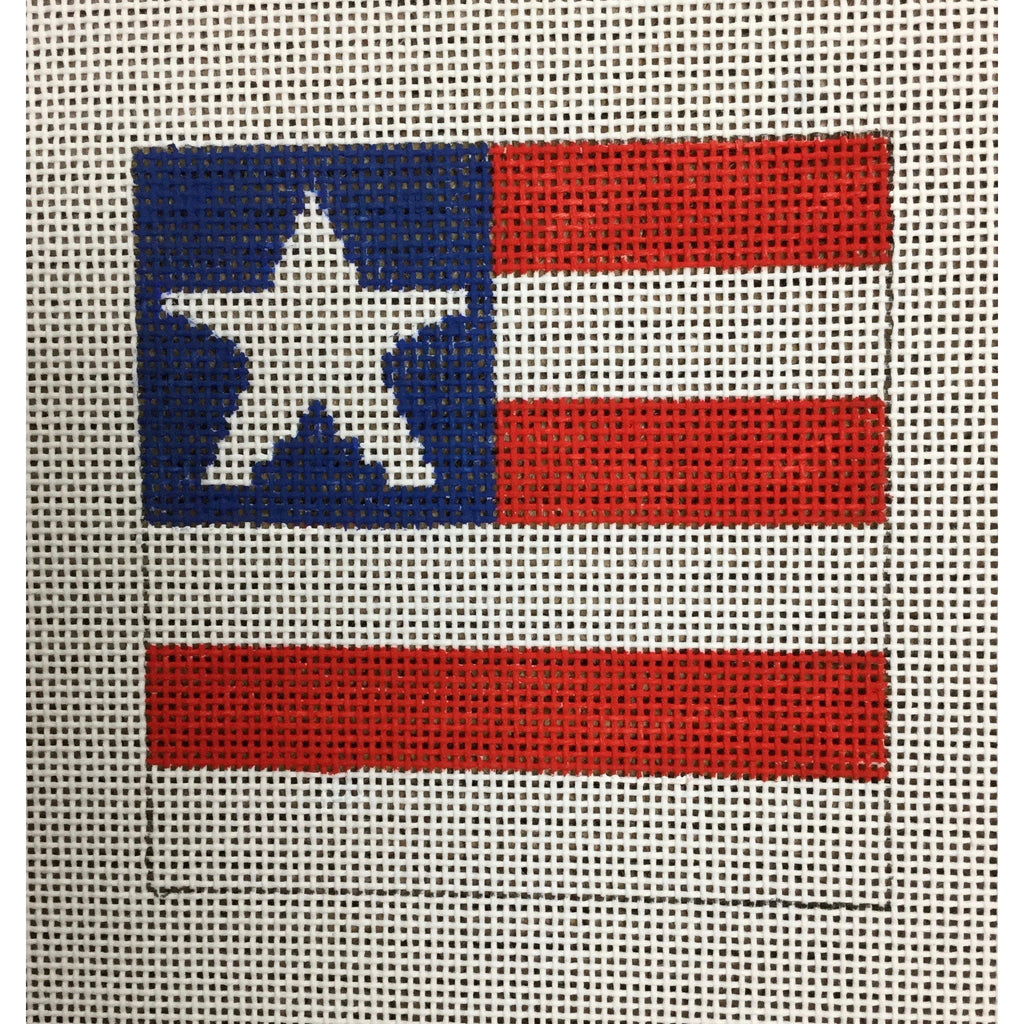 "Large American Flag 4 1/2"" Square Canvas - KC Needlepoint"