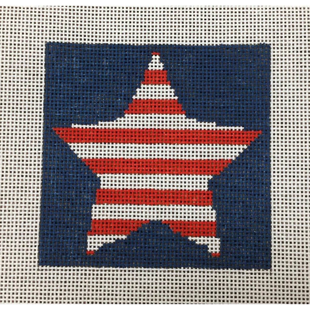 "Striped Star 4 1/2"" Square Canvas - KC Needlepoint"