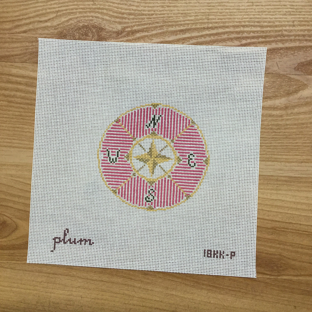 Compass in Pink Round Canvas-Needlepoint Canvas-The Plum Stitchery-KC Needlepoint