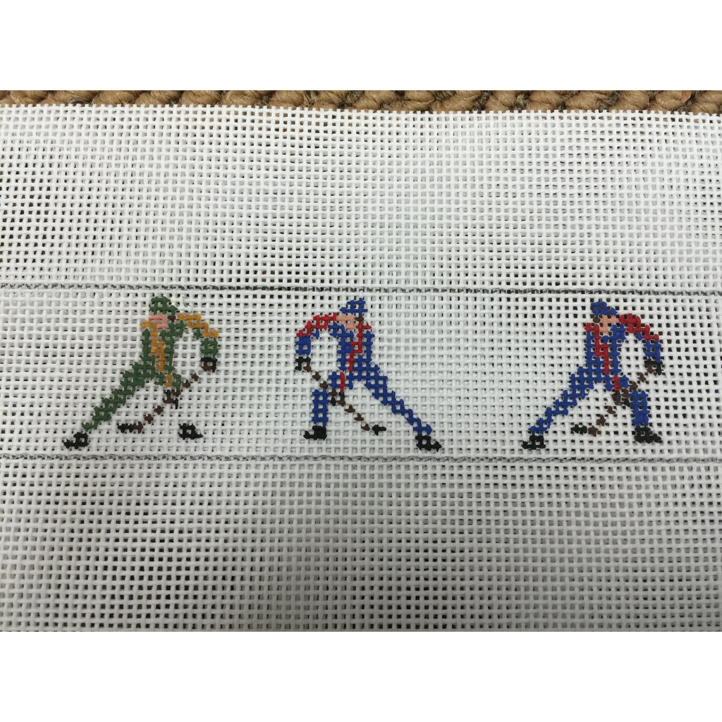 Hockey Players Belt Canvas-Needlepoint Canvas-The Meredith Collection-18 mesh-Stitch 2 turn rows extra-KC Needlepoint