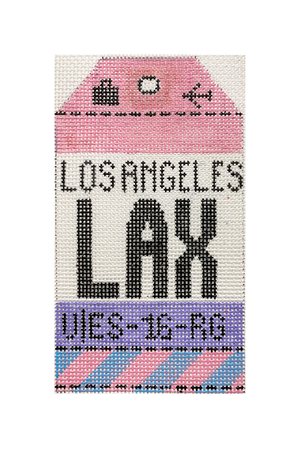 Los Angeles Vintage Travel Tag Canvas - needlepoint