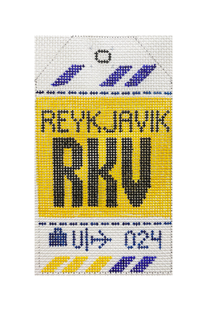 Reykjavik Vintage Travel Tag Canvas - needlepoint