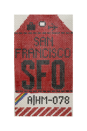 San Francisco Vintage Travel Tag Canvas - needlepoint