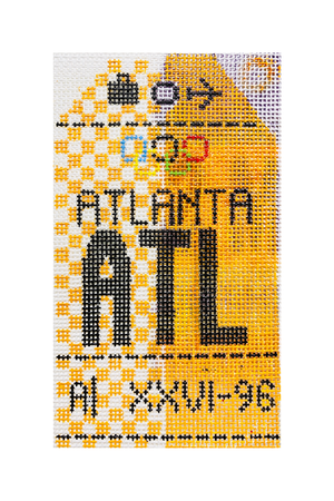 Atlanta Vintage Travel Tag Canvas - needlepoint