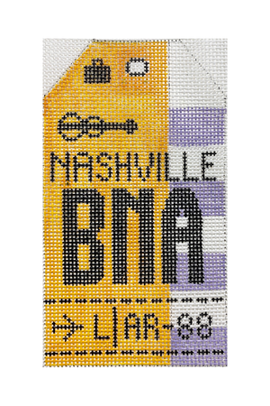 Nashville Vintage Travel Tag Canvas - needlepoint